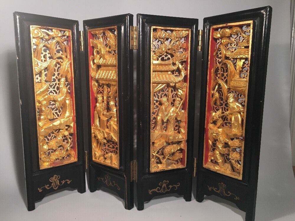 Antique chinese gold gilt wood carving lacquer wood four for Wood in chinese