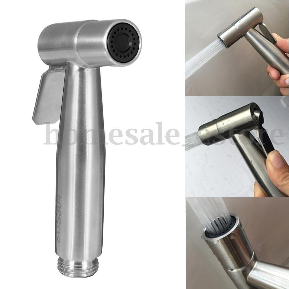 stainless steel hand held shattaf toilet bidet sprayer bathroom shower head ebay. Black Bedroom Furniture Sets. Home Design Ideas