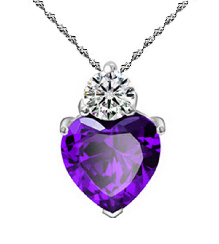18 Quot Sterling Silver Purple Amethyst Heart Crystal Cz