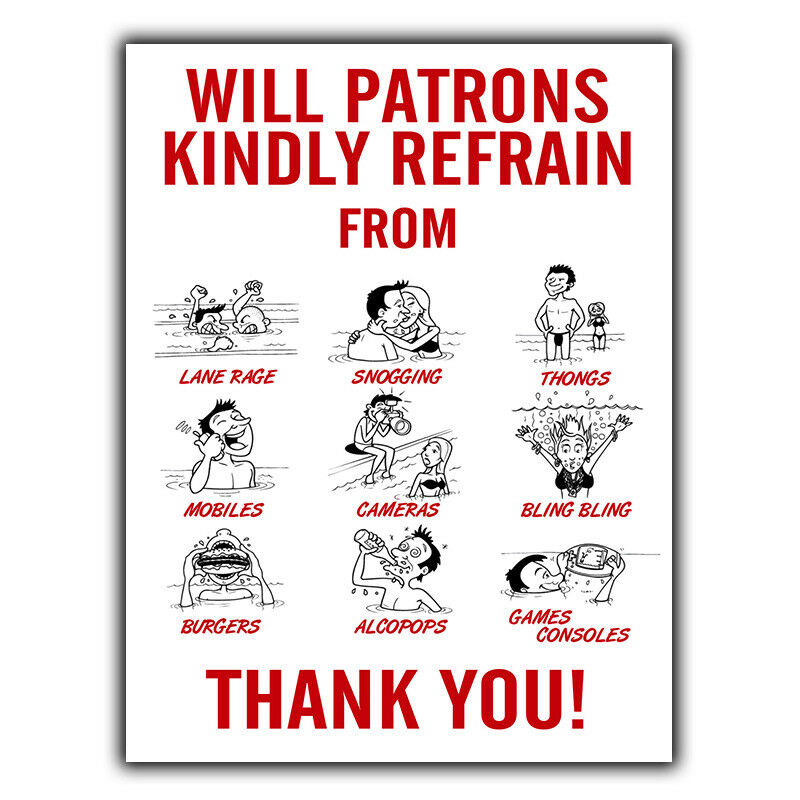 Metal Sign Wall Plaque Swimming Pool Rules Refrain From Funny Humorous Poster Ebay