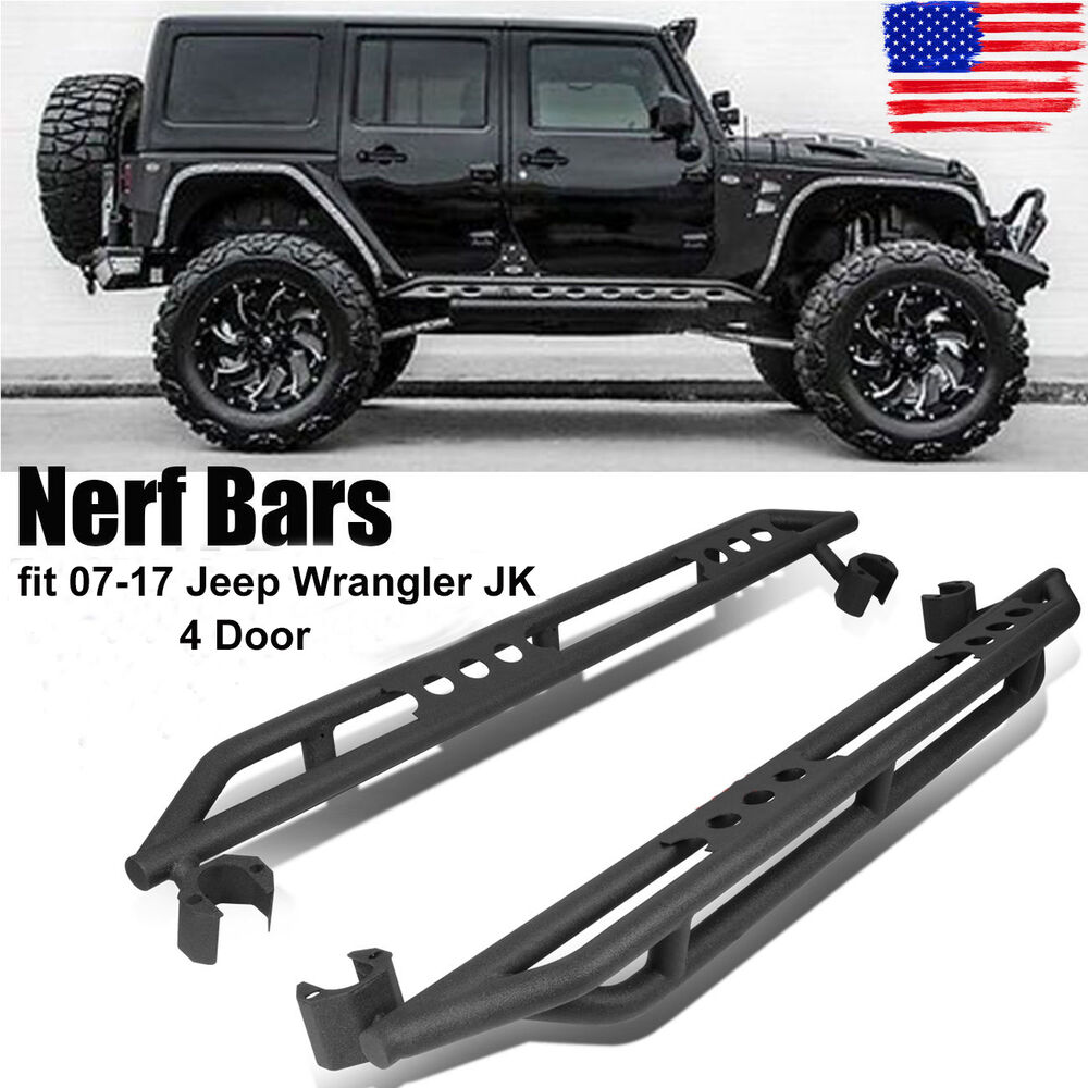Side armor bars step guard nerf rocker textured for 07 17 for 07 4 door jeep wrangler