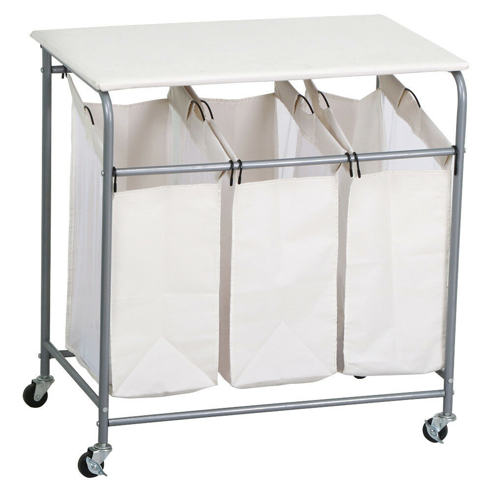 Heavy duty rolling triple laundry sorter organizer hamper cart with wheels beige ebay - Collapsible laundry basket with wheels ...