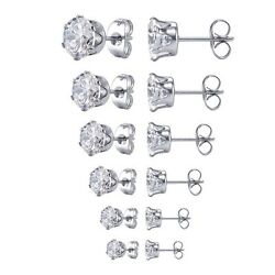 Kyпить Surgical 316L Stainless Steel Stud Earrings Cubic Zircon Round Men Women 2PC на еВаy.соm