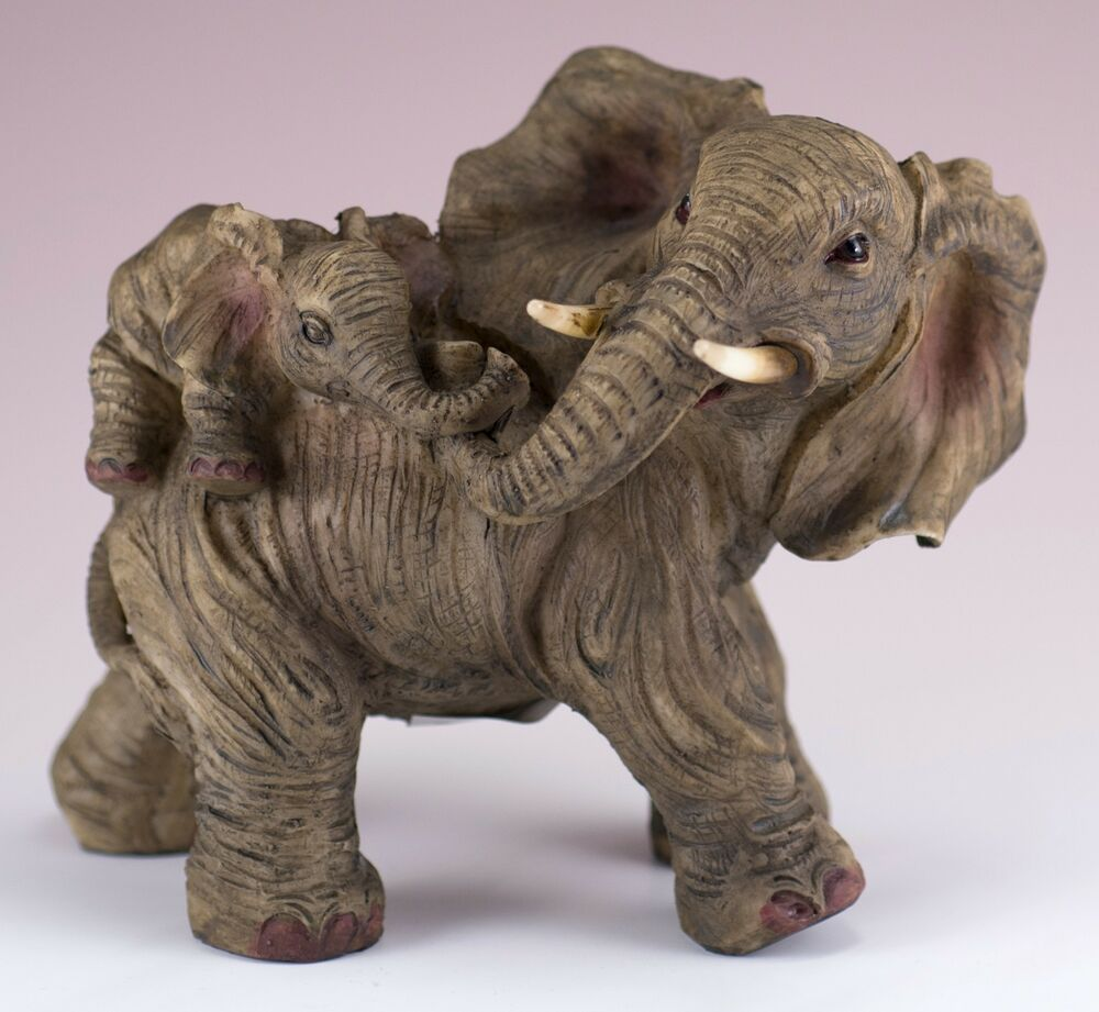 elephant family mother with baby on back figurine resin 5 5 inch long new in box ebay. Black Bedroom Furniture Sets. Home Design Ideas