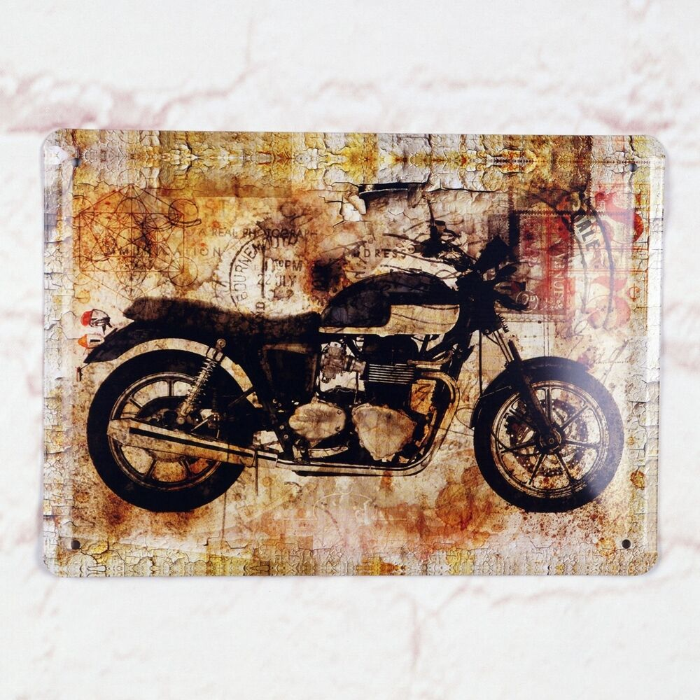 antique tin metal signs home pub bar wall decor motorcycle poster ebay. Black Bedroom Furniture Sets. Home Design Ideas