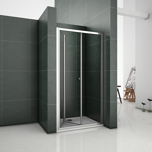 Aica Frameless Bifold Shower Enclosure Amp Tray Walk In