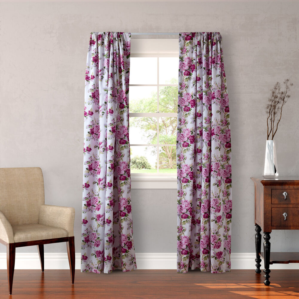 laura ashley lidia 4 piece lined curtain panel set ebay. Black Bedroom Furniture Sets. Home Design Ideas