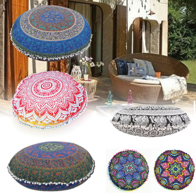 80*80CM Indian Large Mandala Floor Pillows Round Bohemian Cushion Cushions Cover eBay