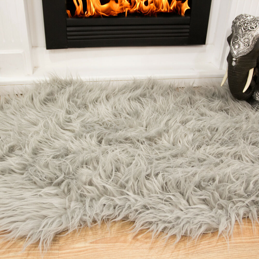 Silver Grey Fluffy Plain Bedroom Faux Fur Fake Fur Non