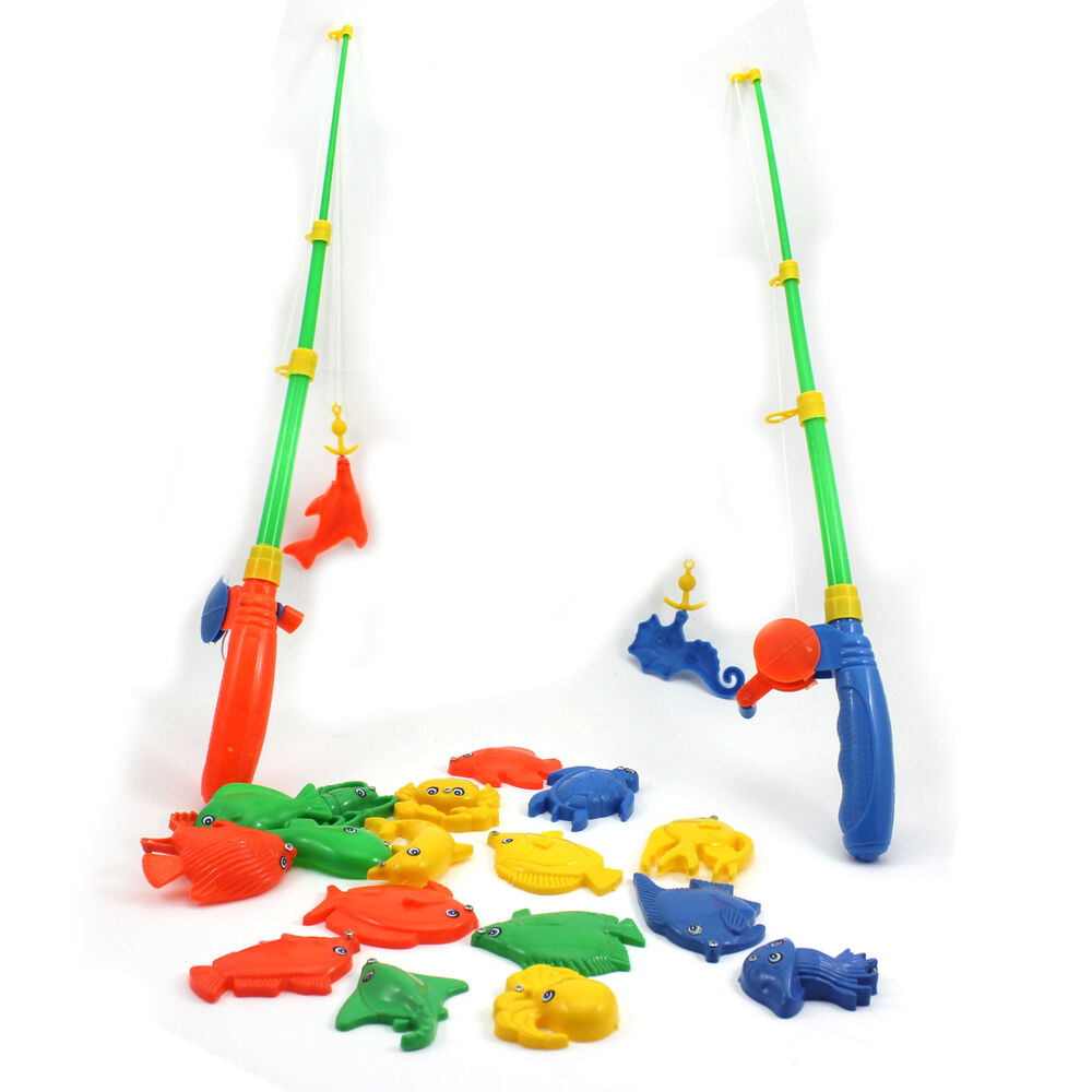 Educational fish game magnetic 2 fishing pole rod 20 for Fishing toy set