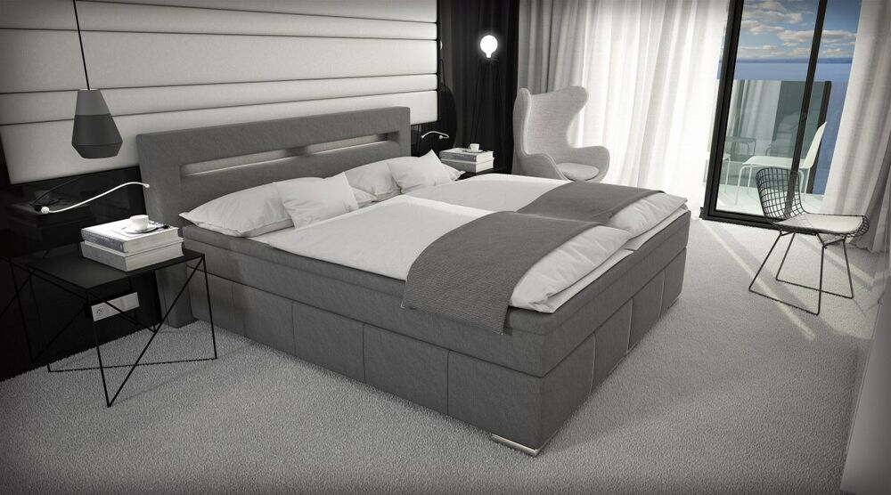 boxspringbett essen luxus bett led beleuchtung designerbett ehebett polsterbett ebay. Black Bedroom Furniture Sets. Home Design Ideas