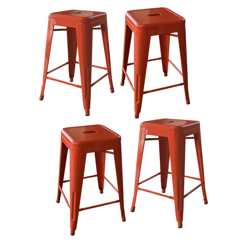 Amerihome Bs24orngset Loft Orange 24 Inch Metal Bar Stool