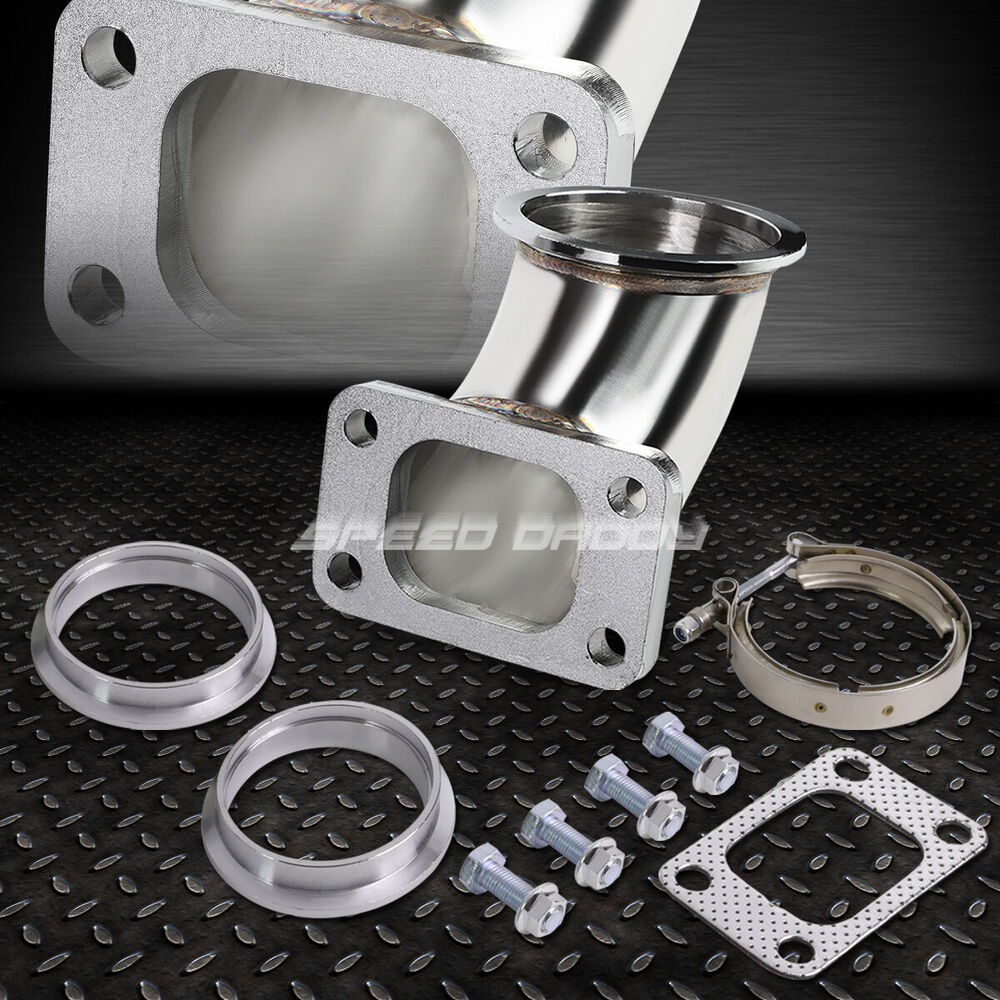 """3""""V-BAND-T3 STAINLESS FLANGE 90?ELBOW TURBO CHARGER ..."""