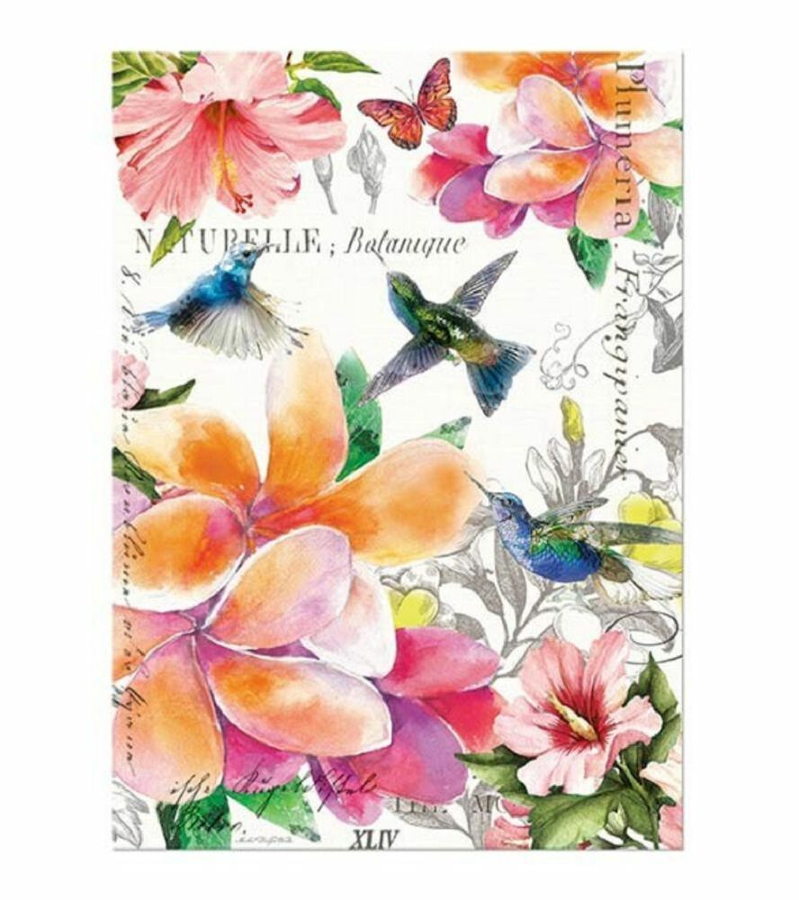 PARADISE Cotton Kitchen Towel By Michel Design Works Flowers Hummingbirds