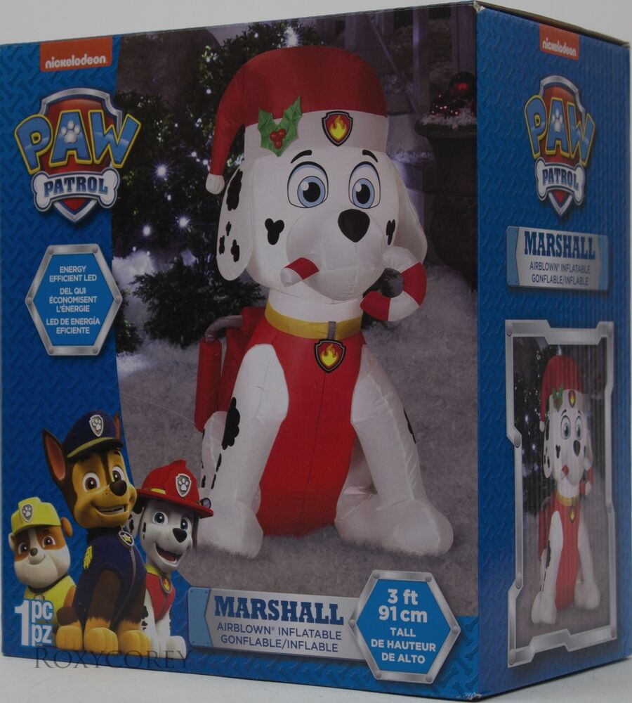 Gemmy Christmas 10 W Airblown Inflatable Winter Carolers: Gemmy Nickelodeon Paw Patrol 3 Ft Lighted Marshall W/Candy