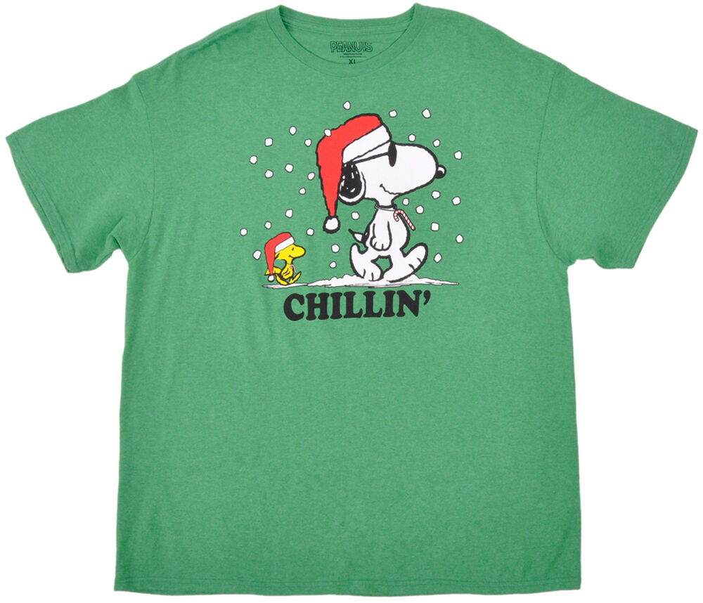 Peanuts Christmas Tee Shirt >> Peanuts Snoopy Woodstock Chillin T-Shirt Green Mens Holiday | eBay