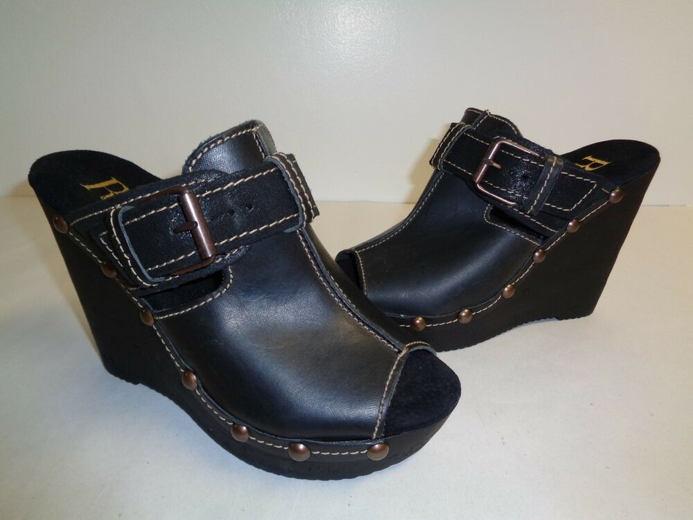 Reba Size 8 Unlimited Black Leather Wedge Sandals New