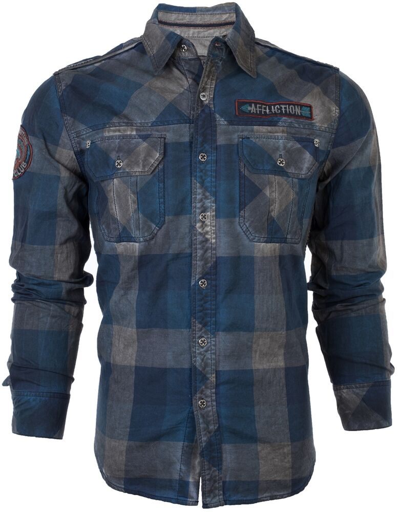 Affliction mens embroidered button down shirt voodoo river for Mens button down shirts