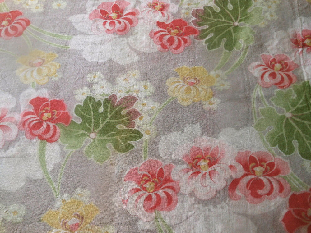 Antique French Art Nouveau Floral Cotton Fabric ~ Yellow ...