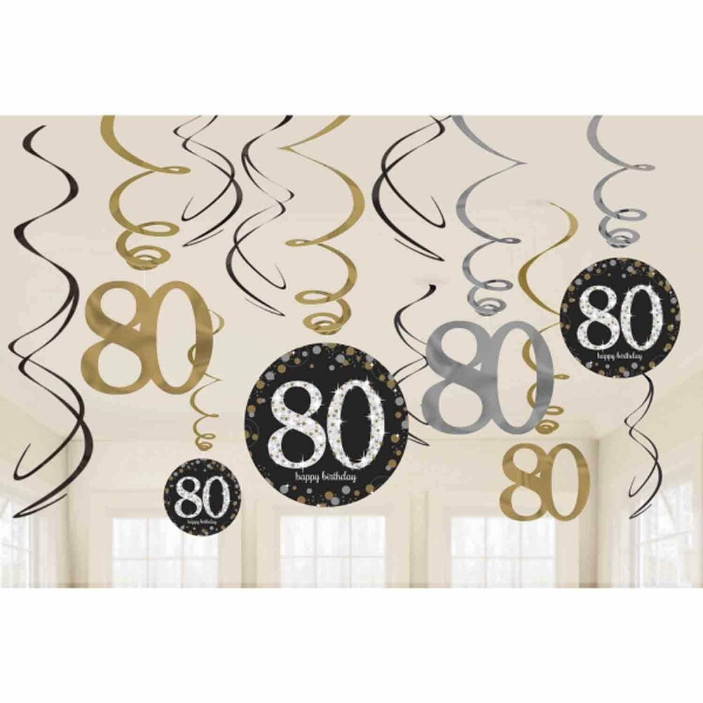 12 x 80th birthday hanging swirls black silver gold party for Garden 50 designs to help you destress