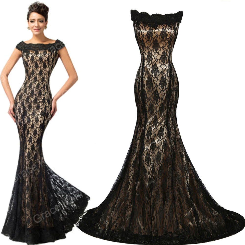 Formal Mermaid Long Dresses Evening Cocktail Party Prom Lace Ball Gown Dress