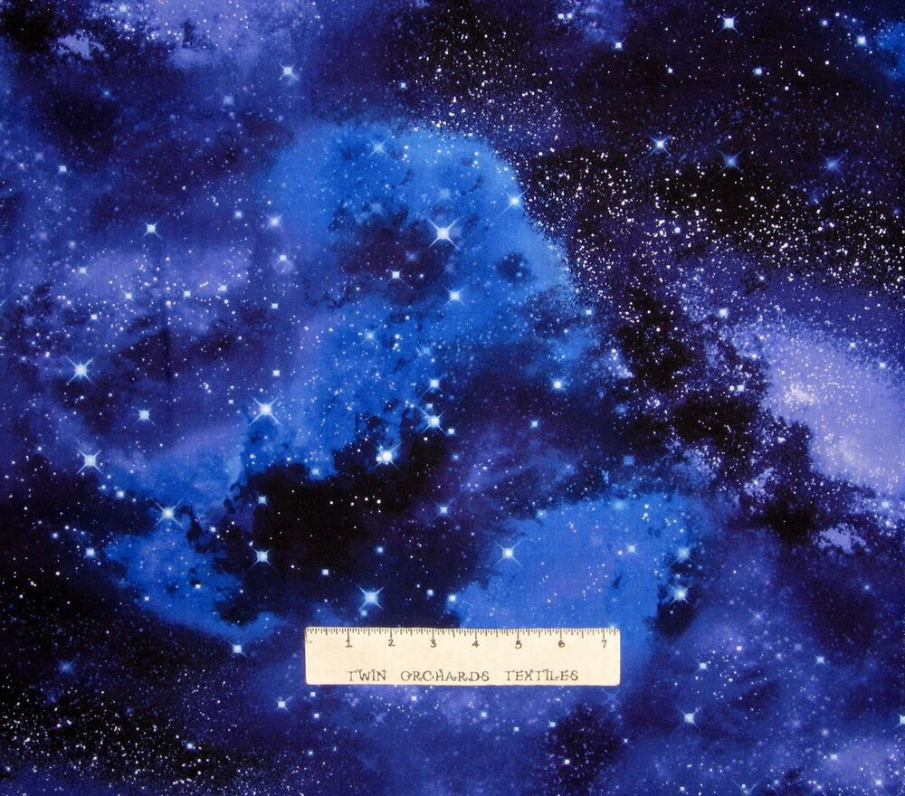 Space Fabric Galaxy Stars Allover Blue Black Timeless