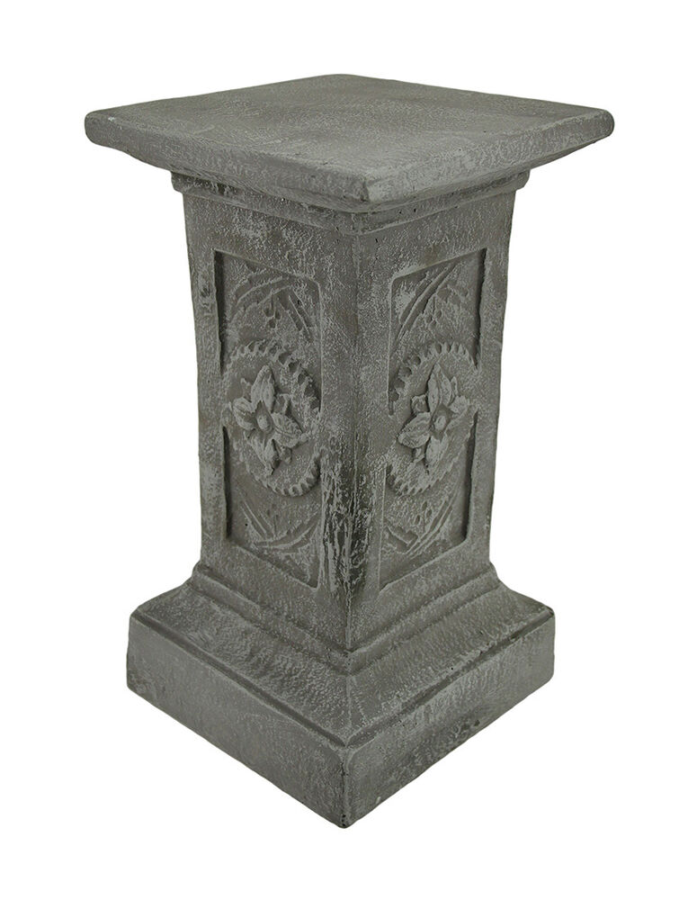 Flower Medallion Art Pedestal Decorative Square Solid