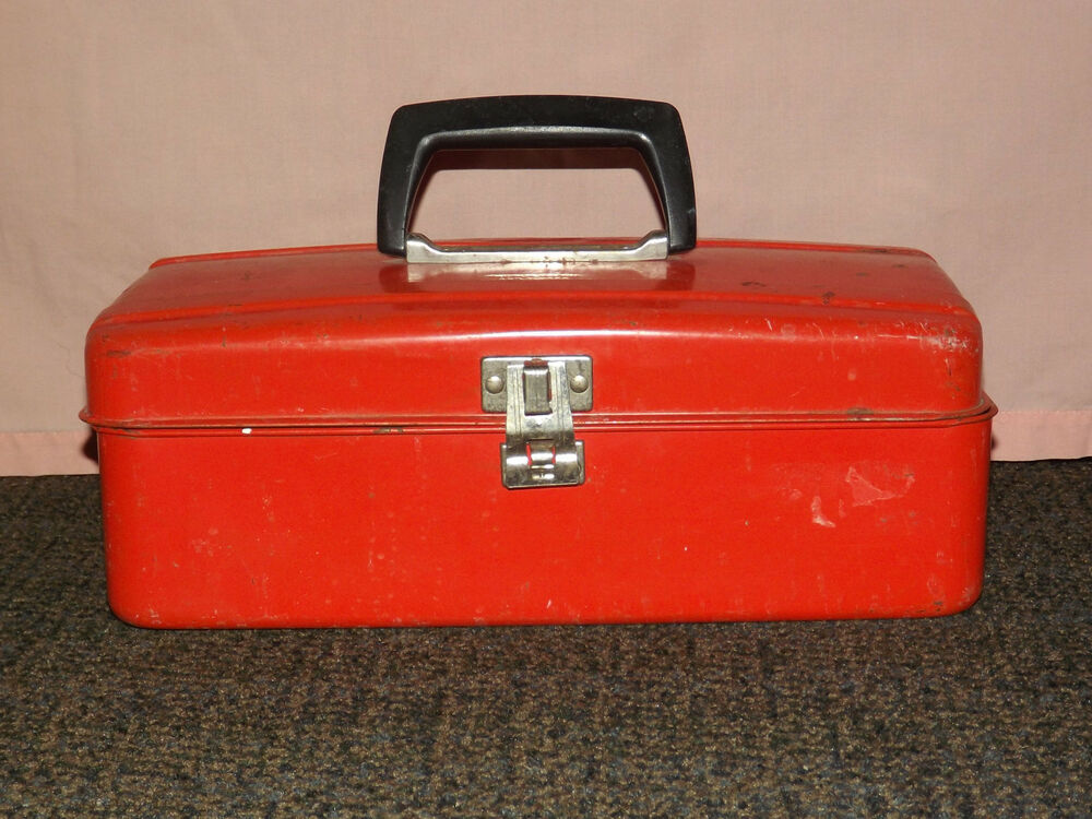 Vintage Old 1960s Fishing Tackle Red Metal Tool Box Ebay
