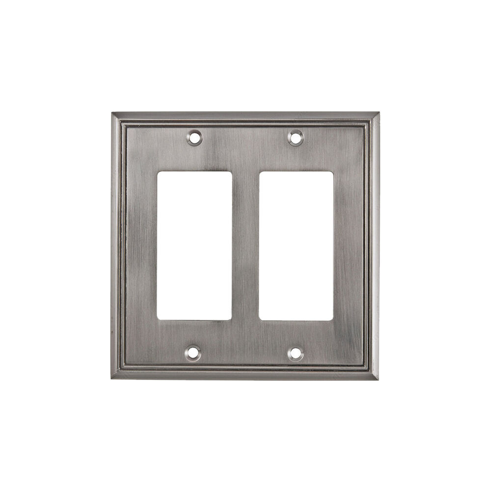 Details About Rok Wall Light Switch Plate Rocker Toggle Cover Decorative Brushed Nickel 2 Gang