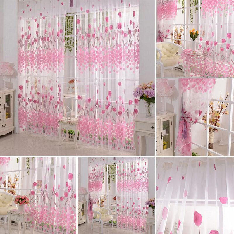 pink blumen vorhang fadenvorhang fenster t r t rvorhang schmetterling 200x100cm ebay. Black Bedroom Furniture Sets. Home Design Ideas