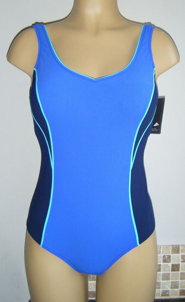 TRIUMPH CONTROL SWIMSUIT BLUE SIZE 14 PADDED FIRM TUMMY ...