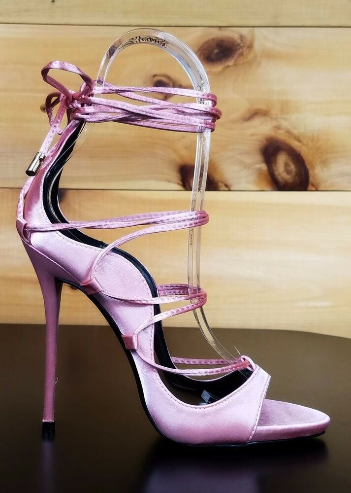 So Me Mista Satin Strappy Lace Up High Stiletto Heel Shoe