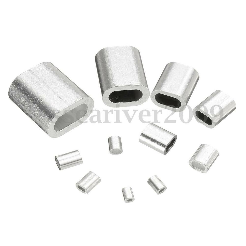 aluminum oval sleeve crimp ferrule swage clamp parts 0 5 6mm 11 sizes ebay. Black Bedroom Furniture Sets. Home Design Ideas