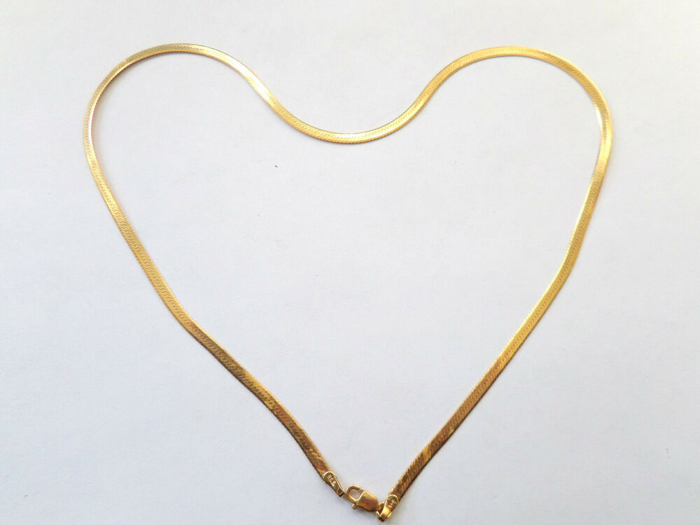 14K YELLOW GOLD HERRINGBONE LADIES NECKLACE 16"