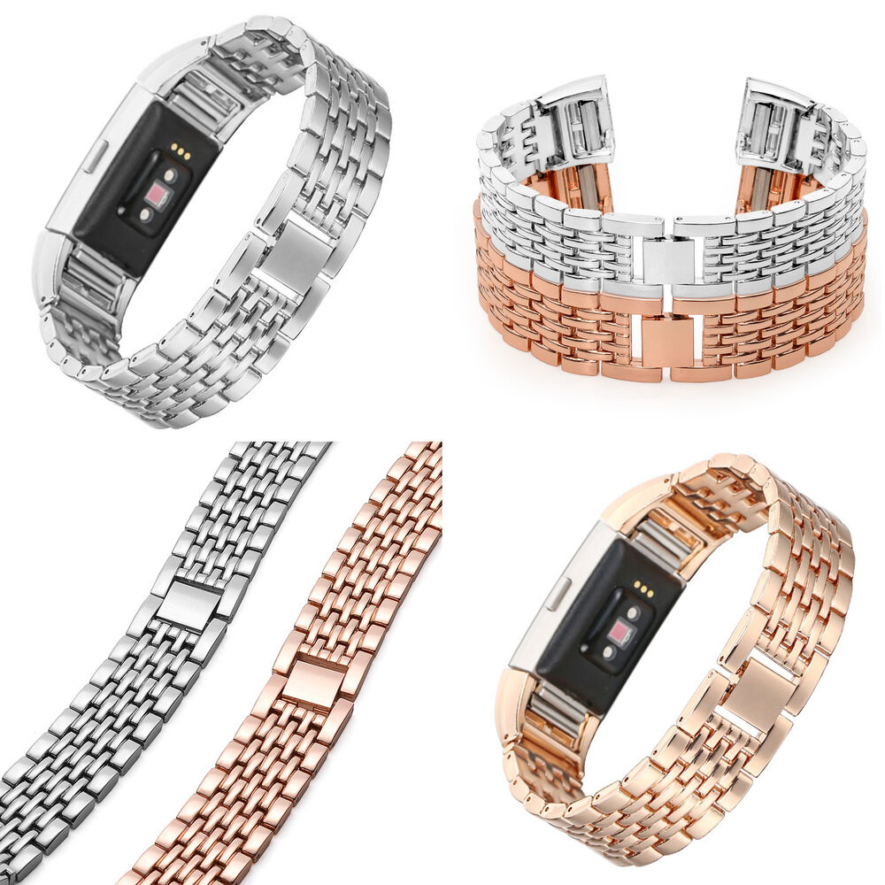 stainless steel metal watch band strap bracelet for fitbit charge 2 sliver gold ebay. Black Bedroom Furniture Sets. Home Design Ideas