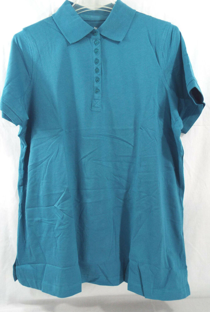 Womens plus size polo shirt short sleeve in teal nip ebay for Plus size polo shirts ladies