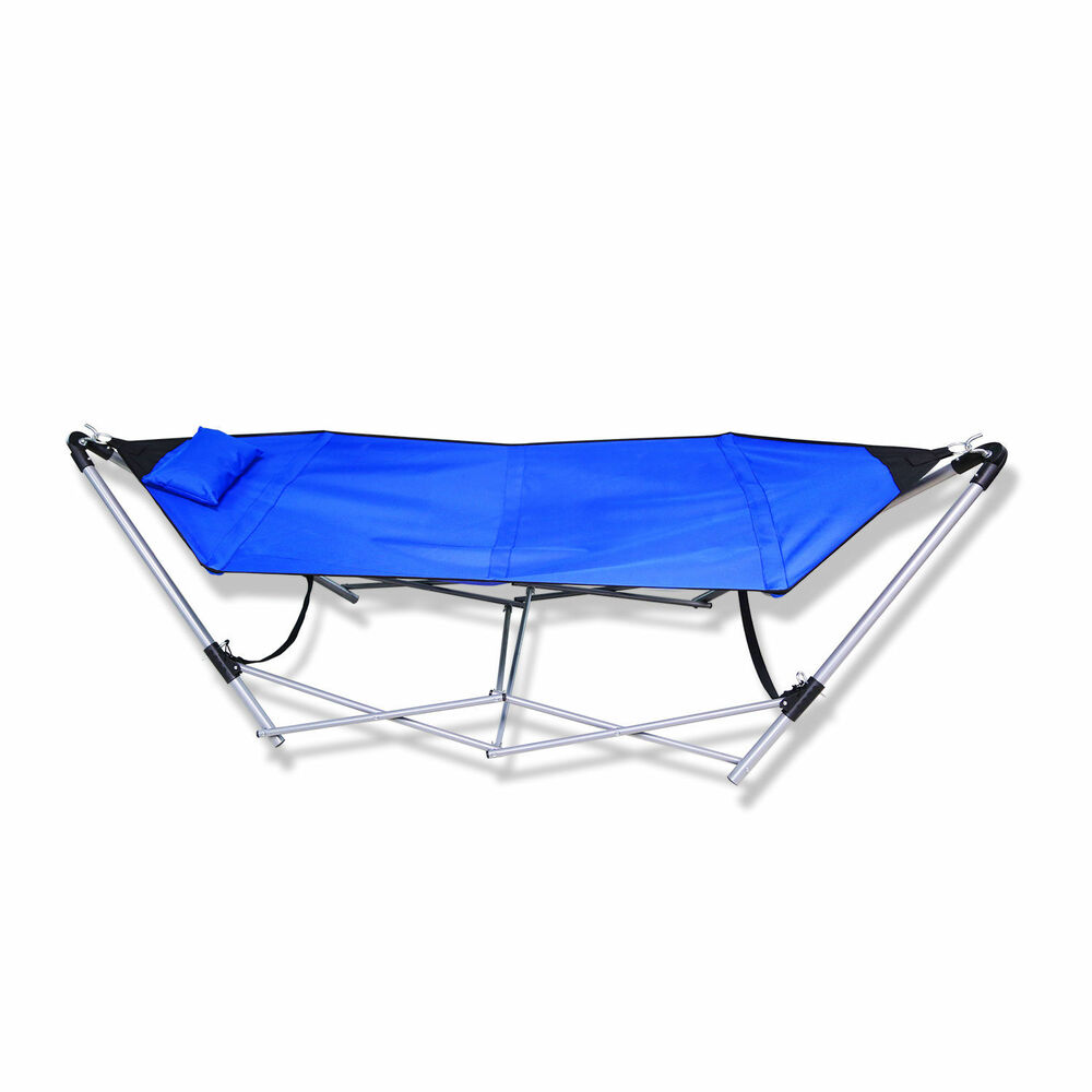 Portable folding bed in a bag - Portable Folding Hammock Beach Lounge Camping Bed W Carrying Bag Frame Stand