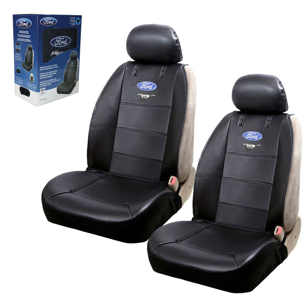 New 2pc Set Ford Mustang Synthetic Leather Sideless Car