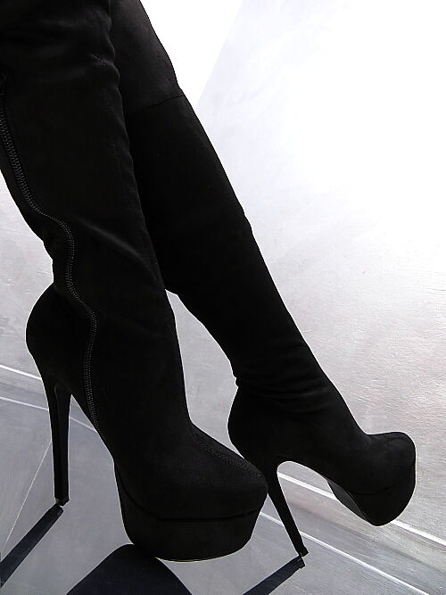 neu hohe overknee stiefel stretch schwarz plateau boots k31 schuhe high heels ebay. Black Bedroom Furniture Sets. Home Design Ideas