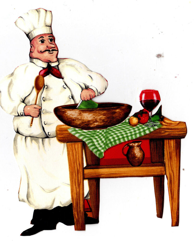 "6-9.5"" FAT ITALIAN CHEF KITCHEN WALL SAFE STICKER"