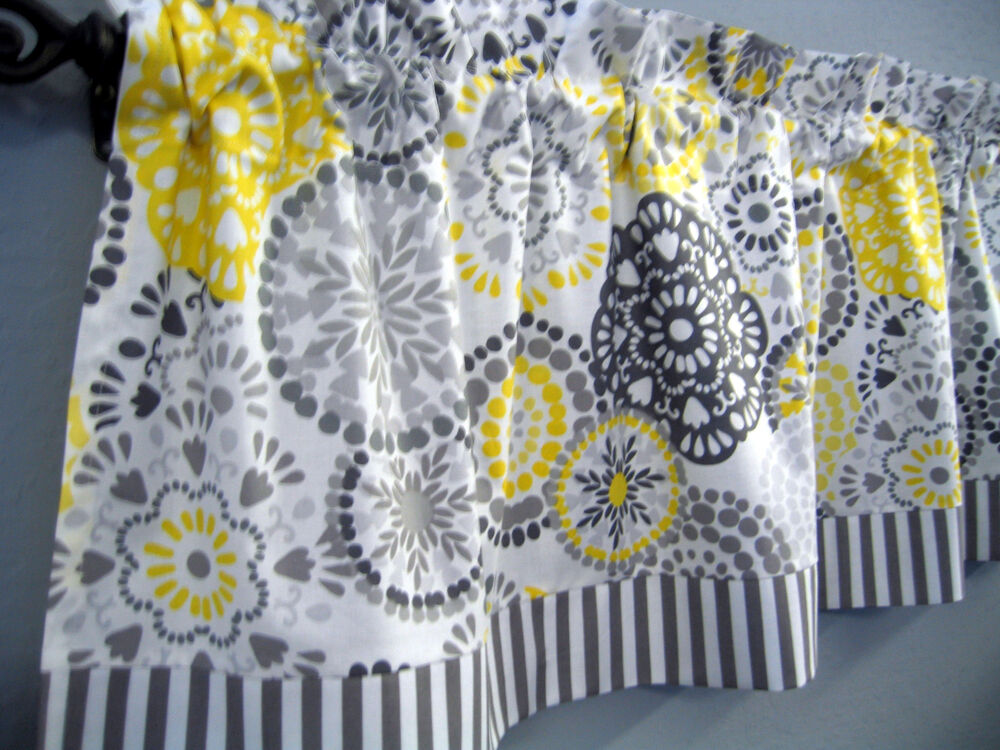 Gray Yellow Retro Kitchen Valance Topper Waverly Fabric
