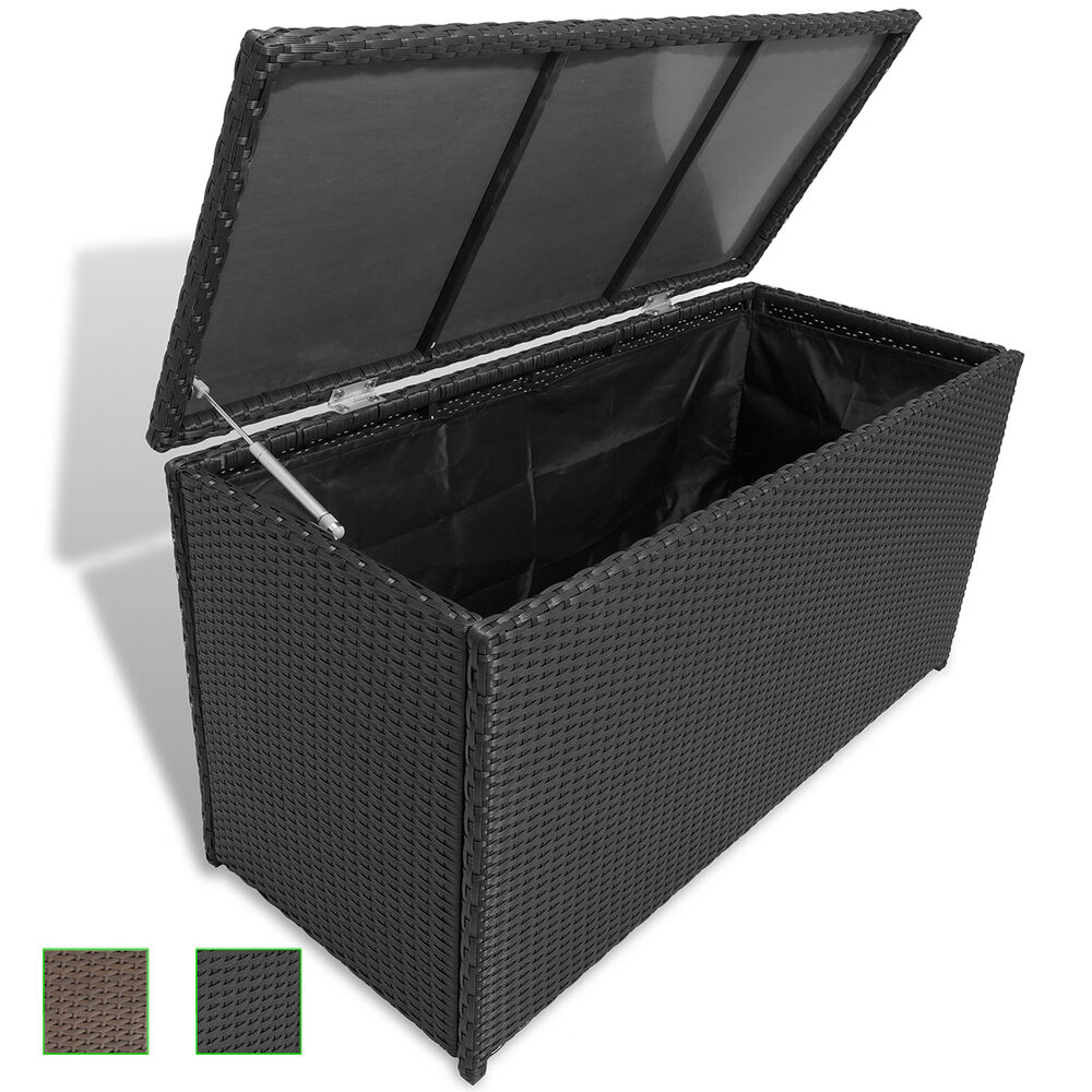 poly rattan auflagenbox gartentruhe gartenbox kissenbox box truhe wasserdicht ebay. Black Bedroom Furniture Sets. Home Design Ideas