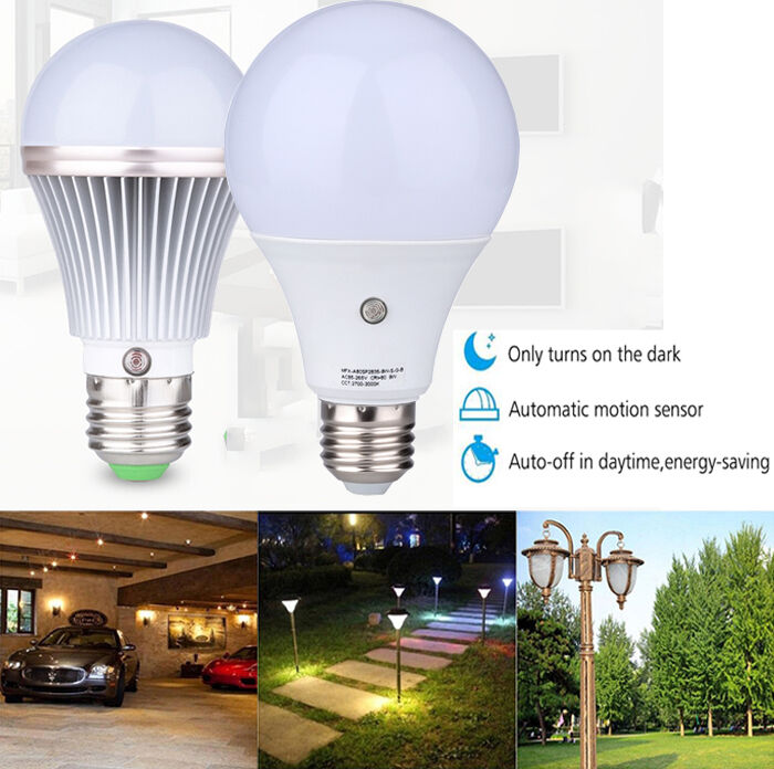 E27 Led Auto Light Sensor Bulb Energy Saver Dusk To Dawn