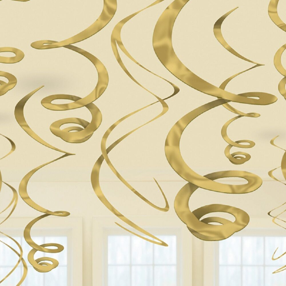 12 x gold hanging swirls party decorations 50th golden for Paper swirl decorations