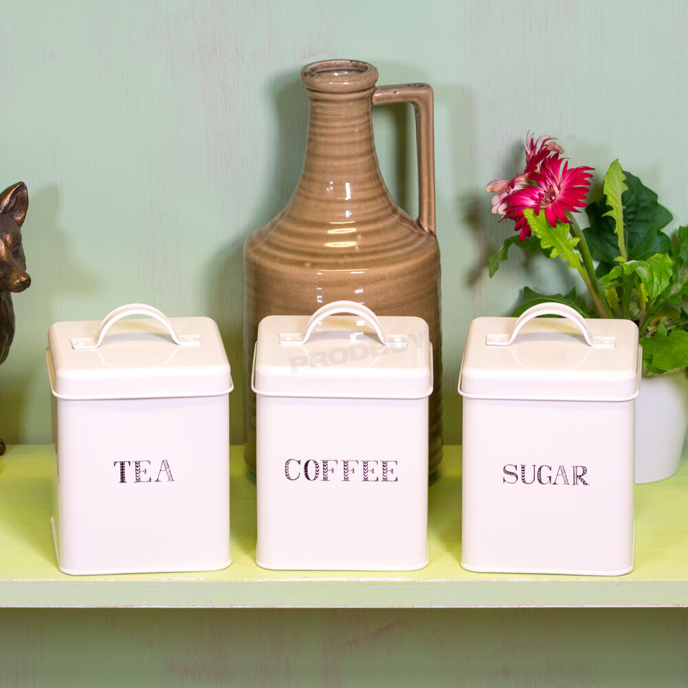 Ceramic Kitchen Canisters >> Set of Square Enamel Tea Coffee Sugar Storage Canisters Jars Kitchen Containers   eBay
