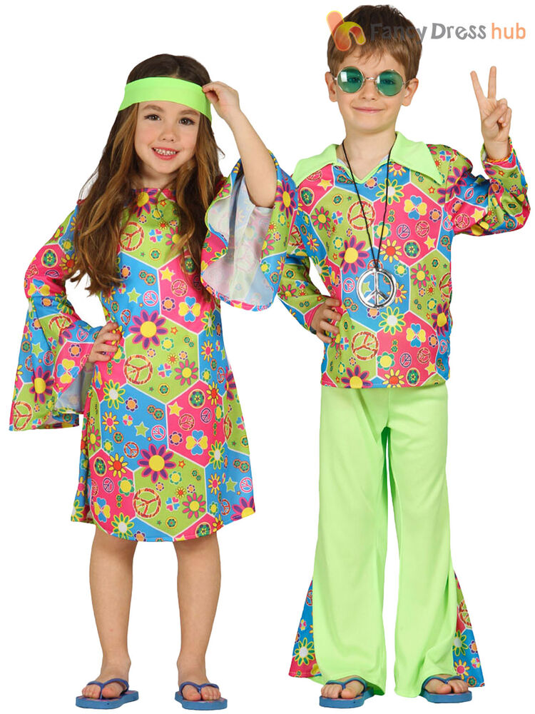 child hippy costume boys girls hippie fancy dress kids 60s