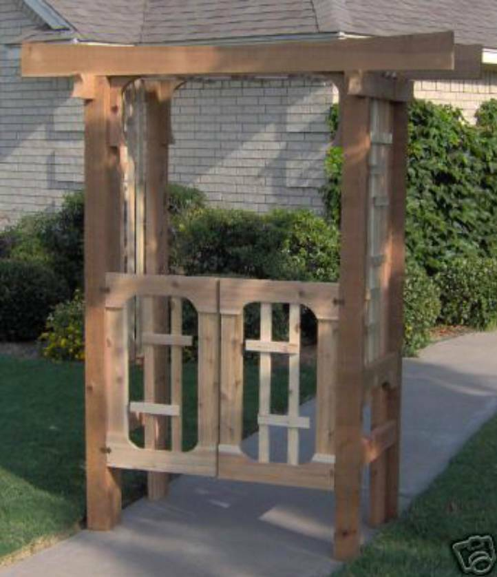 New deluxe japanese style cedar garden arbor pergola with for Japanese garden structures wood