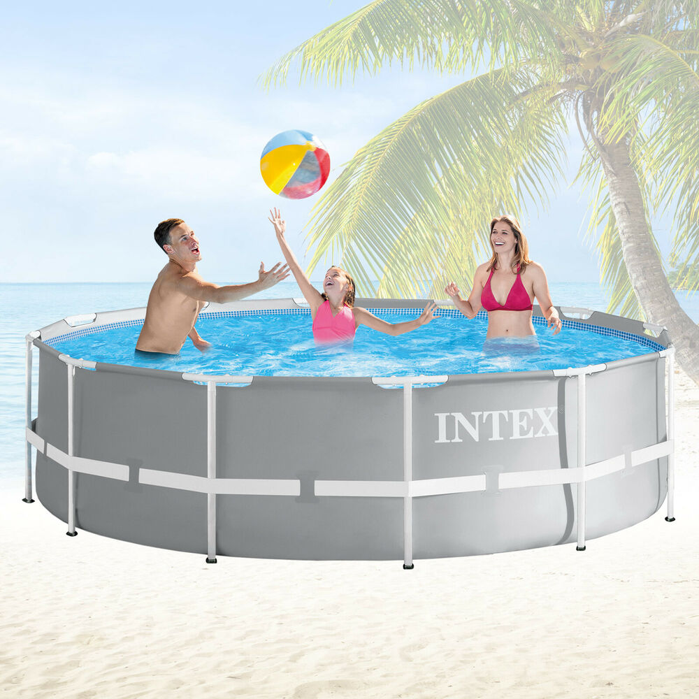 intex 366x91 schwimmbecken swimming pool schwimmbad frame metal stahlwand ebay. Black Bedroom Furniture Sets. Home Design Ideas