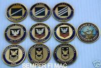 US NAVY ENLISTED CHALLENGE COIN SET USS USN RANKS PIN UP PROMOTION RETIREMENT
