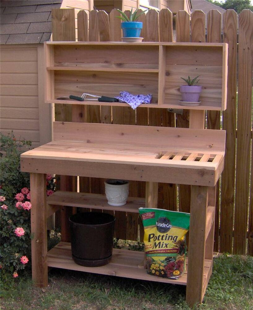 New 6 Ft Large Cedar Potting Bench Plant Gardening Station Benches With Shelves Ebay